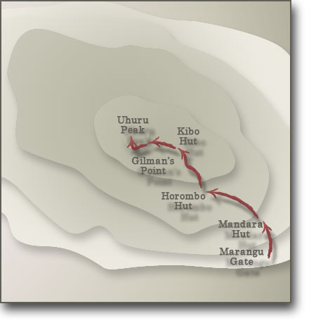 Map for Kilimanjaro Marangu Route