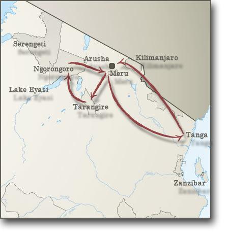 Map for Safari including Climbing Mount Meru