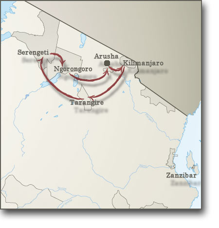 Map for Safari including Climbing Mount Kilimanjaro