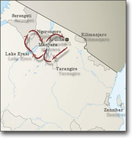 Map for Safari: Untouched Tanzania